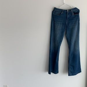 Deep blue forever21 long wide bottom  jeans.
